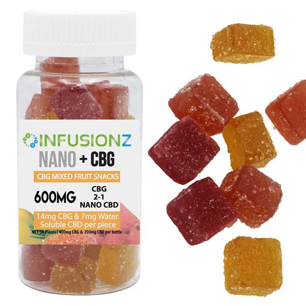 CBD infusionz Nano + CBG Mixed Fruit Snacks 600mg